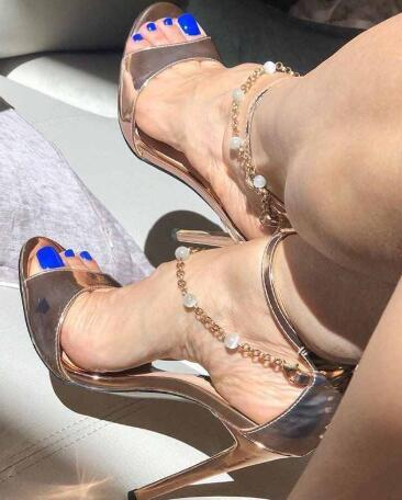 Summer New High Heel Open Toe Bead Chain Party Sandals