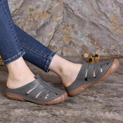 Women Hollow Out Comfy Round Toe Slip On Summer Casual Sandals