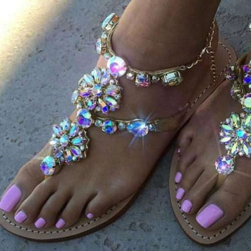 Large Size Women Summer Shiny Embellished Toe Post Flat Sandals Flip Flops Slippers