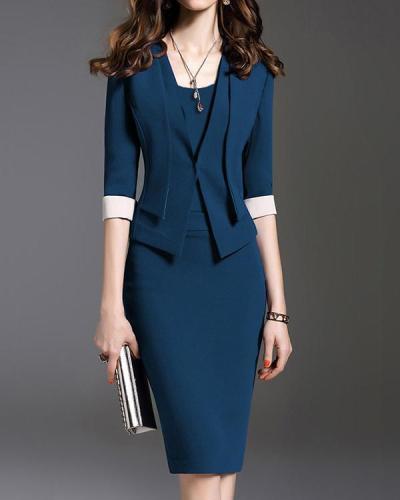 V-Neck Plain Bodycon Mini Dress