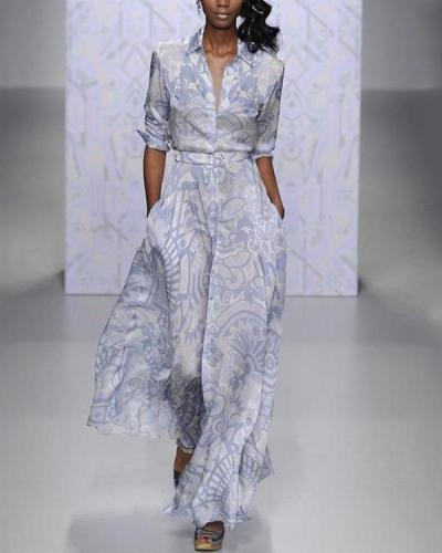 Women Printed Floral Casual Maxi Dress