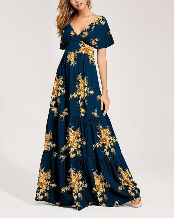 Print Plunging Neck Backless Maxi Dress