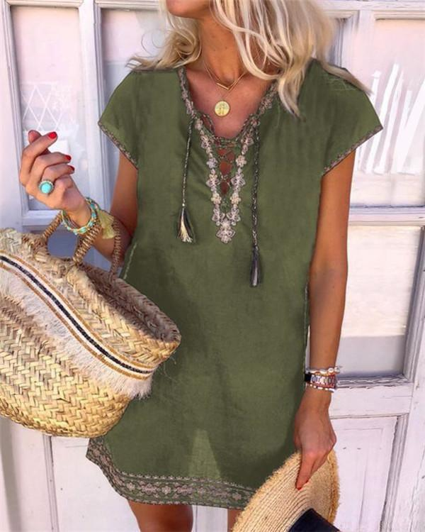 Women' s  Bohemian Holiday Daytime Shift Mini Dress Tops