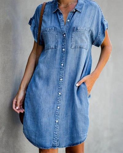 Blue Shirt Collar Plain Short Sleeve Denim Dresses