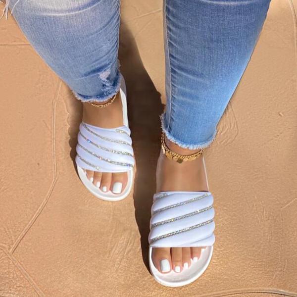 Summer Slip-On Rhinestone Slippers