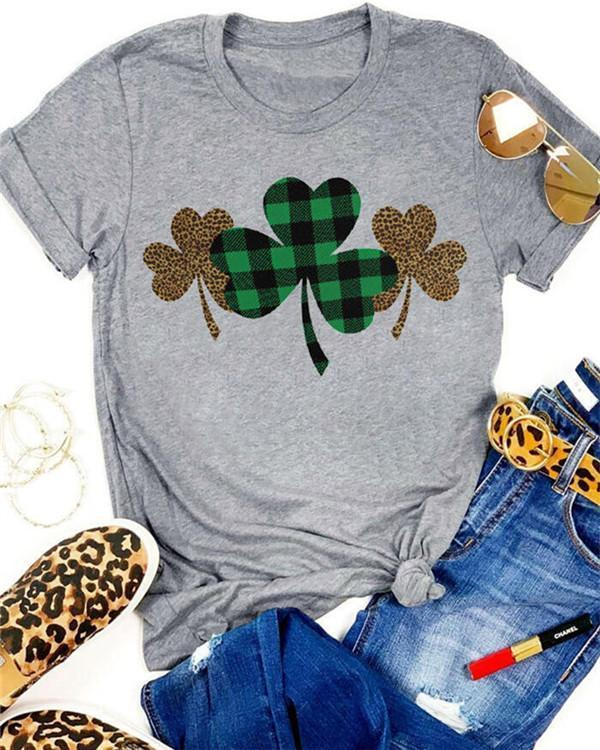Plaid Leopard Printed Lucky Shamrock T-Shirt Tee