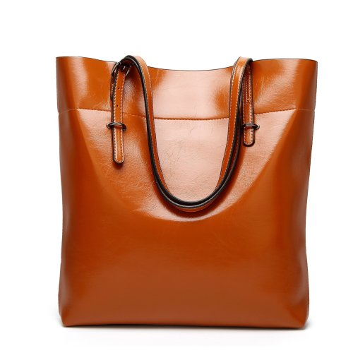 Women Oil Leather Handbags Casual Solid Color Shoulder Bags