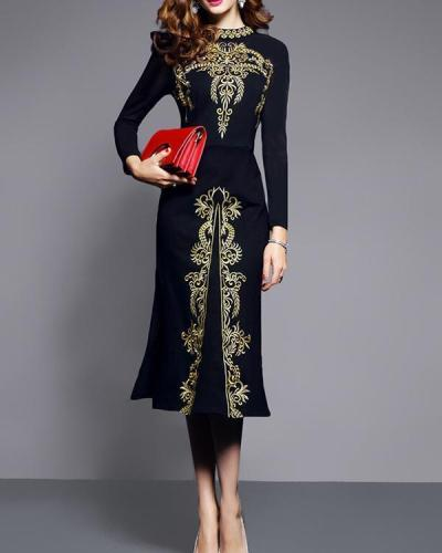 Women Spring Autumn Vintage Embroidery Midi Dress