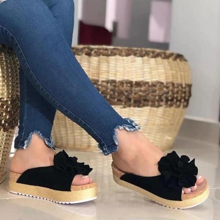 Flower Espadrille Sandals Slip-On Peep Toe Women Platforms
