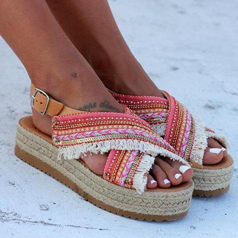 Women's Handmade Platform Peep Toe X-strap Sandals With Adjustable Buckle