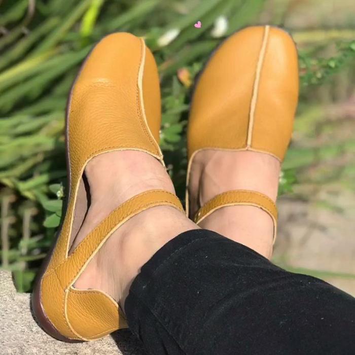 Round Toe PU Flat Sandals Women