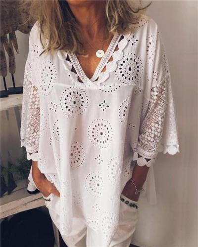 Plus Size Women Hollow Out V Neck Loose Tops