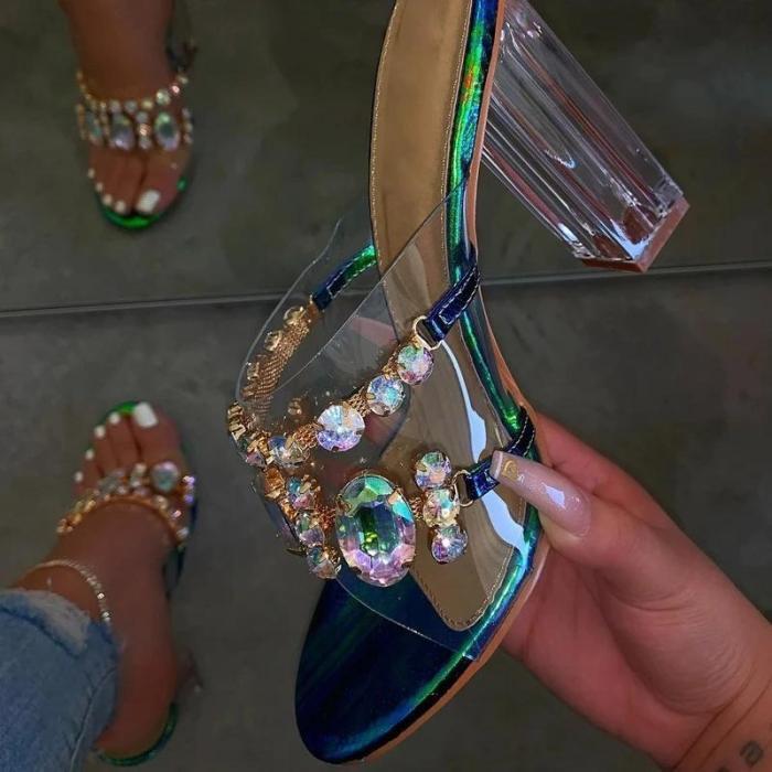 Rhinestone Flip Flop Slip-On Block Heel Casual Casual Sandals