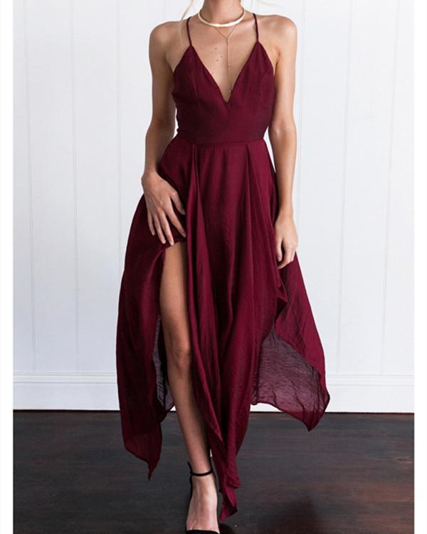Spaghetti Strap Asymmetric Hem Backless Plain Sleeveless Maxi Dresses