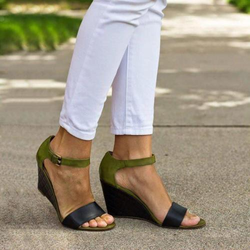 Wedges Heel Buckle Strap Color-block Daily Leisure Sandals