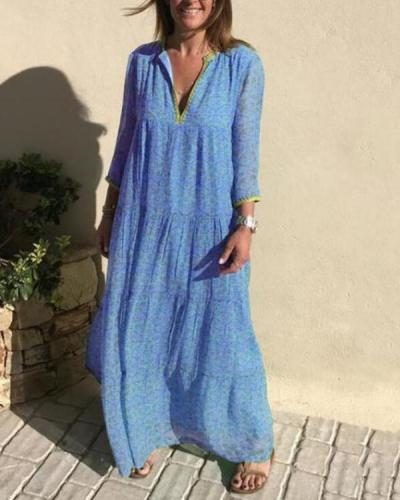 Blue Casual V Neck Cotton-Blend Dresses