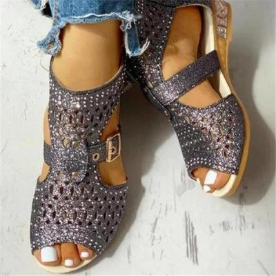 Hollow Out Peep Toe Buckled Sandals