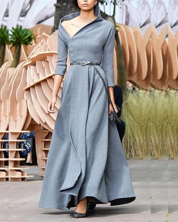 Fashion Irregular Collar Sexy Long Evening Maxi Dress