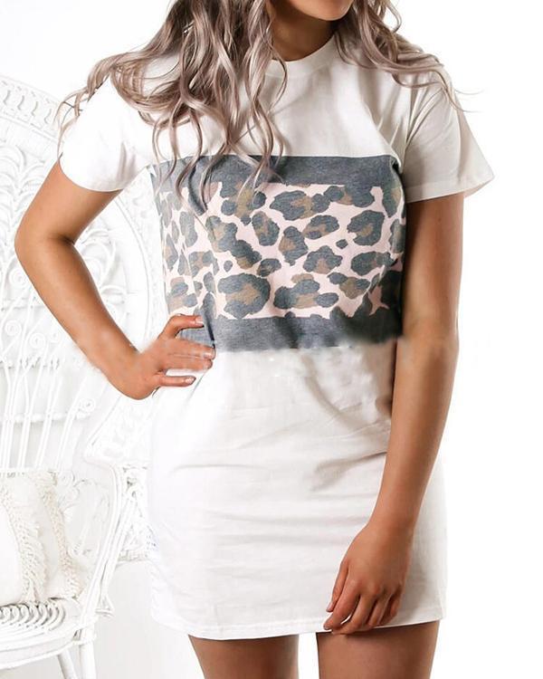 Round Neck Leopard Stitching Short Sleeve Casual Straight Dress