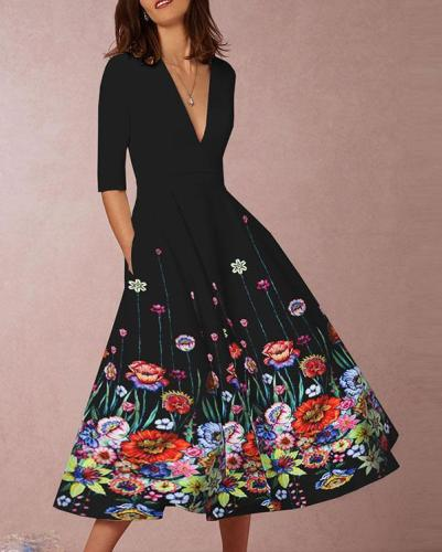 Floral V Neck A-line Pockets Casual Midi Dress