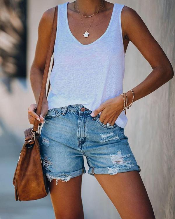 Straight Denim Shorts