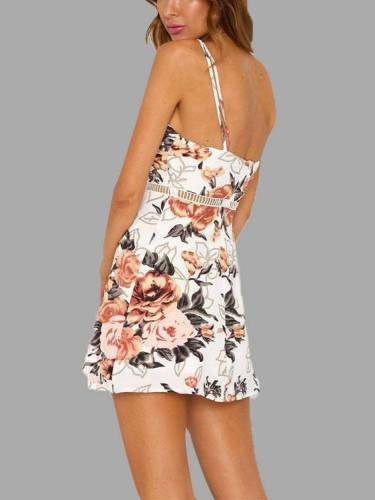 Random Floral Print Hollow Mini Dresses