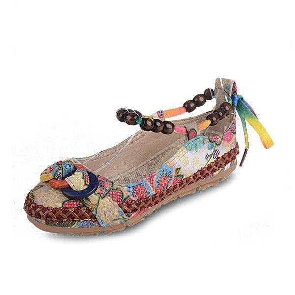 Bead Chain Knitting Butterflyknot For Women Vintage Retro National Wind Lace Up Flat Shoes