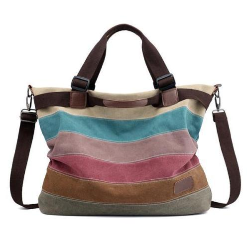 KVKY Canvas Striped Handbag Vintage Contrast Color Crossbody Bag