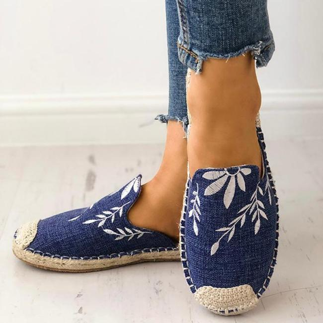 Women Fashion Embroidered Espadrille Flat Slippers Shoes Canvas Low Heel Daily Slip On