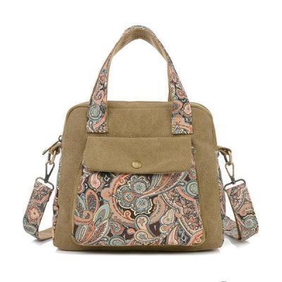Vintage Floral Print Canvas Handbags Retro Crossbody Bag