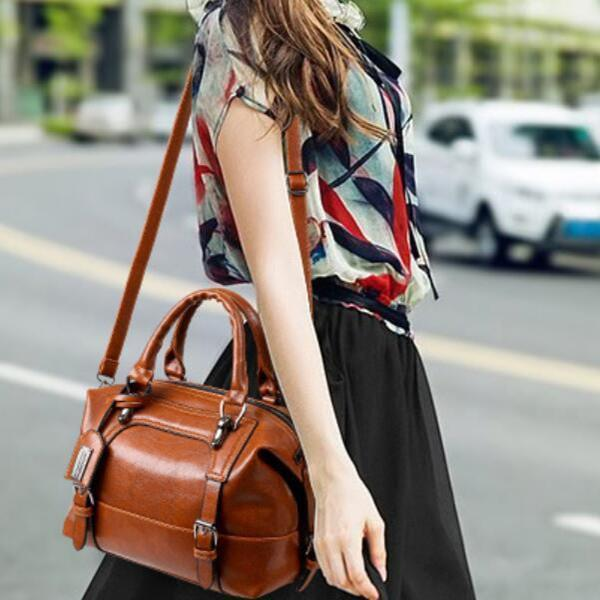 Vintage PU Leather Boston Handbag Shoulder Bag
