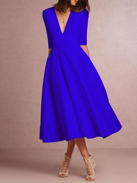 Women Daily 3/4 Sleeve Paneled Prom Dress