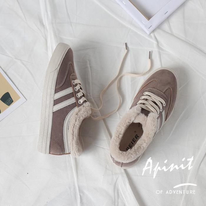 Casual Flat Low-cut Plus Velvet Sneaker Shoes