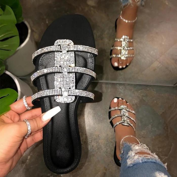 Women Holiday Rhinestone Slip On Flat Heel Sandals