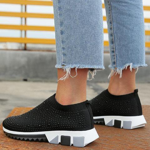 Black All Season Slip-On Women's Rhinestone Sneakers