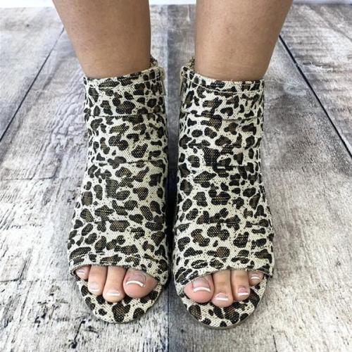 Summer Vintage Chunky Heel  Leopard Sandals
