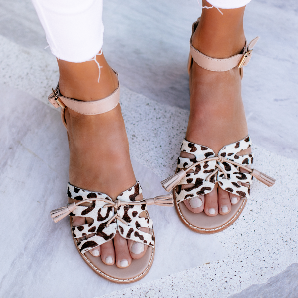Summer new comfortable low-heeled plus size casual leopard sandals