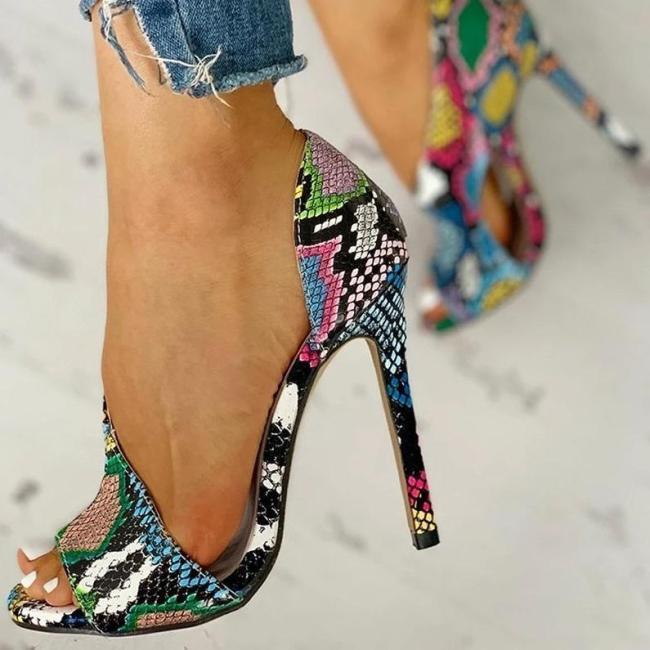 Open Toe Thin Heeled Sandals
