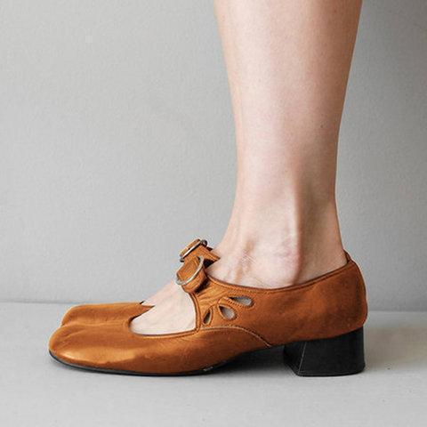 Mary Jane Summer Low Heel Vintage Women Shoes
