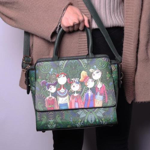 Women PU Leather Green Series Crossbody Bags