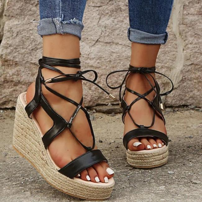Women Cross-Strap Lace Up Wedge Sandals