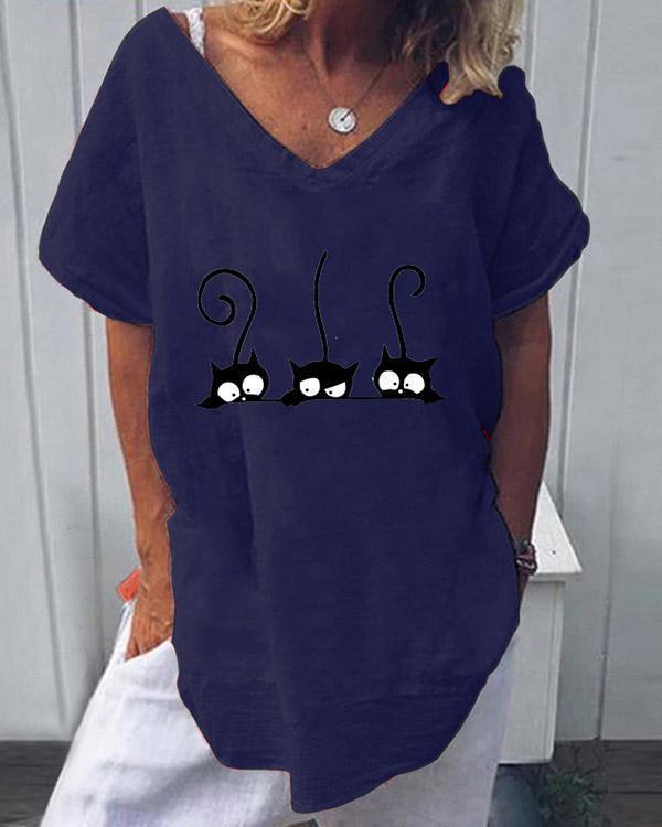 Summer Print Casual V-Neckline Short Sleeve Blouses