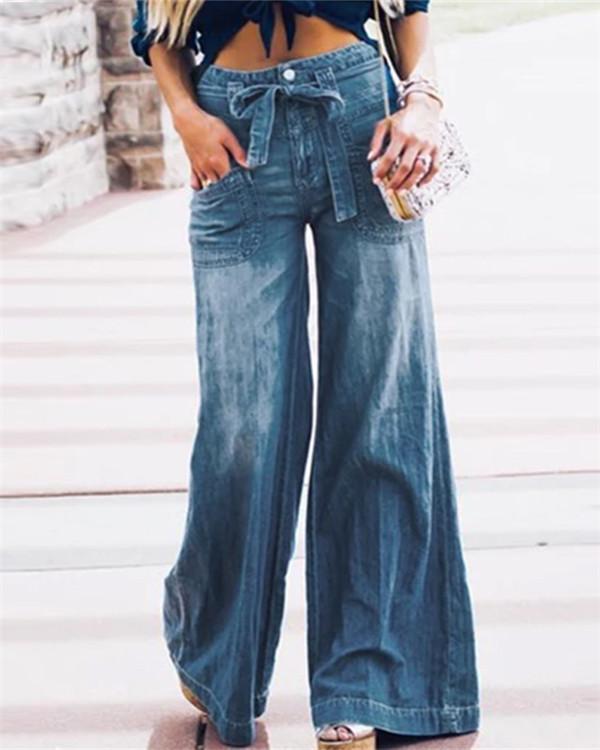 Blue Denim Casual Plain Pants