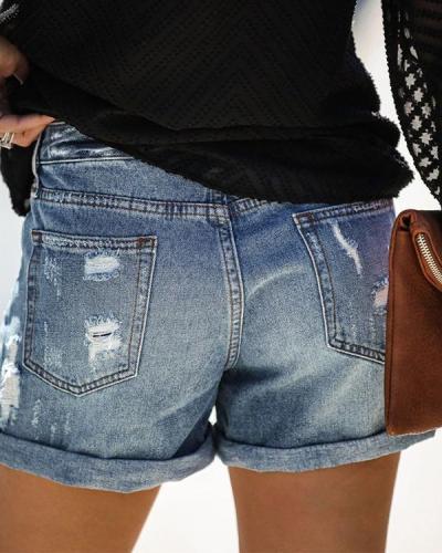 Distressed Cuffed Denim Shorts Jeans