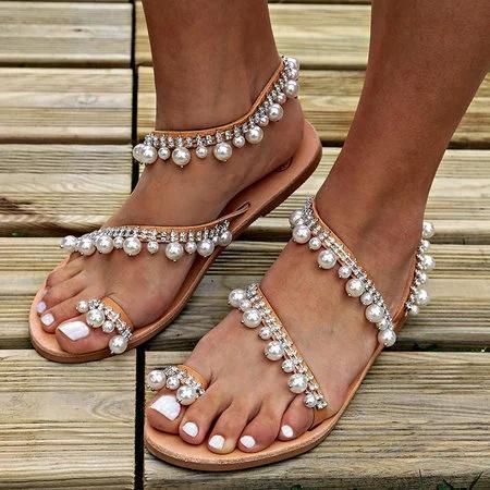 Plus Size Handmade Sandals Pearls Summer Flat Sandals
