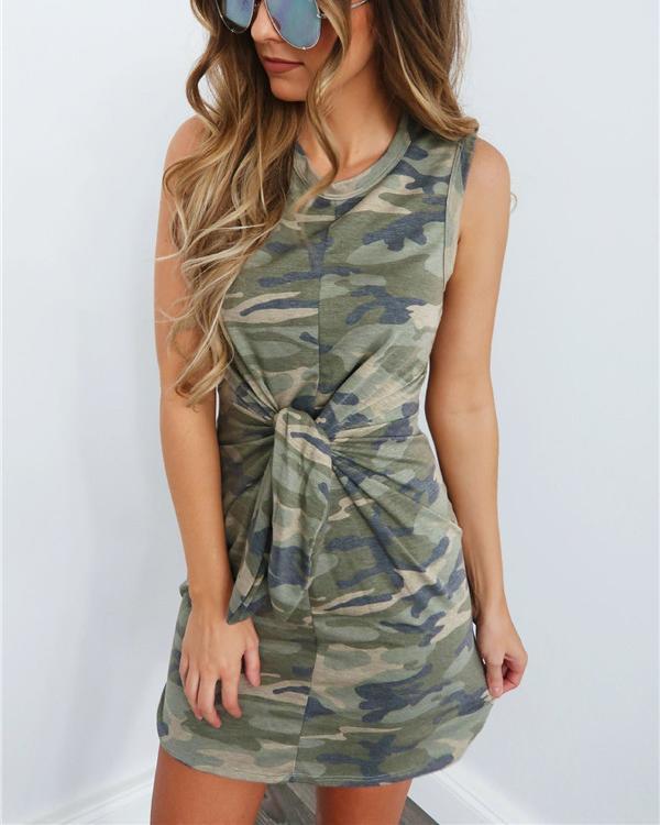 Camouflage Sleeveless Women Sexy Body-Con Mini Dress