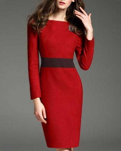 Women's Elegant Long Sleeves Midi Dress