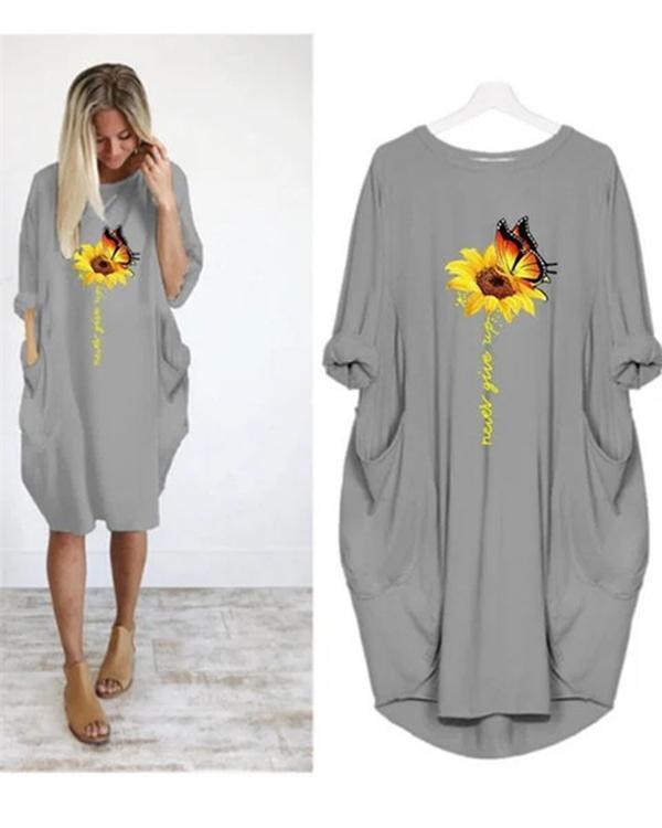Sumflower Printing Oversized Long T-Shirt Midi Dress With Pockets