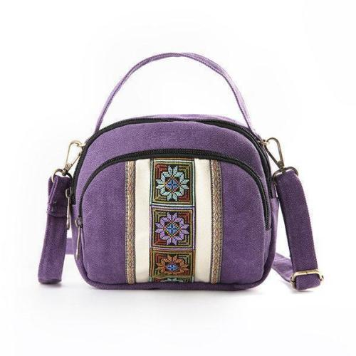 National Style Canvas Three-Layer Shoulder Bag