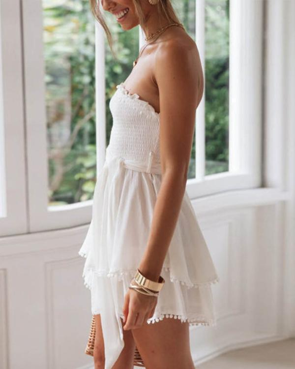 Cotton And Linen Ruffled Chest Strap Dress